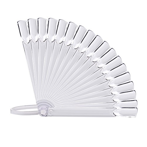 Togethor 32Pcs Nail Art False Tips Sticks Polish Practice Display Fan Board Design Tool Swatch Transparent with Screw