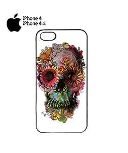 Skull Flower Art Peace Mobile Cell Phone Case Cover iPhone 4&4s White