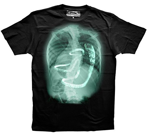 Qraphic Tee Xenomorph t-Shirt, Aliens t-Shirt, Chestburster X-Ray t-Shirt, Alien Covenant (Aliens Soft T-shirt)