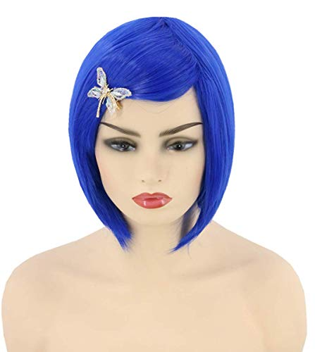Topcosplay Unisex Coraline Wig for Adult Kids Short Blue Bob Wig with Butterfly Hairpin Halloween Costume Party Wig