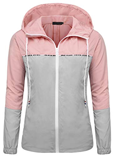 - DOSWODE Women's Waterproof Raincoats Packable Lightweight Outdoor Hooded Rain Jacket Windbreaker(Gray/Pink,Small)