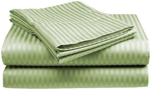 (Queen Size 400 Thread Count 100% Cotton Sateen Dobby Stripe Sheet Set -Sage)