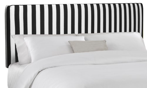 Skyline Furniture Upholstered Queen Headboard with Welt in Canopy Black and White