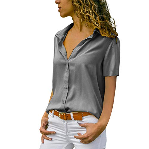 ♡QueenBB♡ Womens V Neck Blouse Shirts Button Down Short Sleeve Casual Loose Chiffon Collared Tops T Shirts Gray