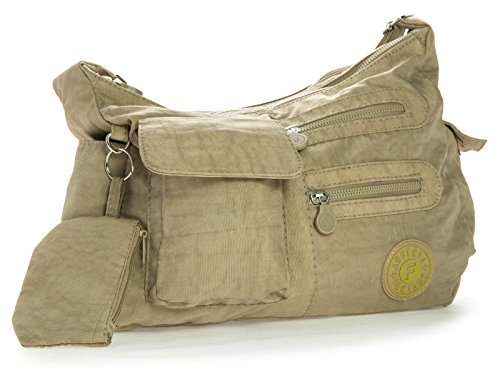 Big Handbag Medium Bag Lightweight Cross Medium Messenger Shop Rainproof Unisex Size Beige Multipocket Body Fabric 77xdqPrI