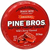 Pine Bros. Softish Throat Drops, Wild Cherry, 26 Ea