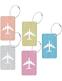 Aluminum Suitcase Tags Travel Bag Identification Labels Metal Luggage Tags (Multicolor 5Pack)