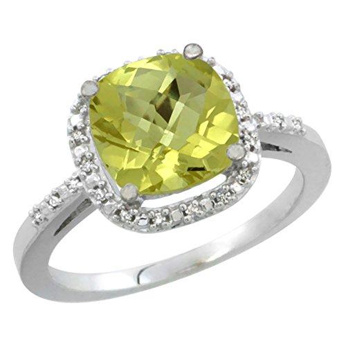 14K White Gold Natural Lemon Quartz Ring Cushion-cut 8x8mm Diamond Accent, size 10