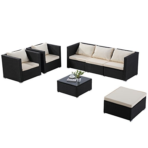 mecor Wicker Patio Furniture Set,7 Piece Outdoor Furniture Sectional Cushioned Sofa Set &Glass Coffee Table, Garden,Backyard,Lawn Furniture Black