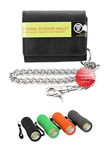 Mens Black Cowhide Leather RFID Blocking ID Protection 14 Pocket Trucker Biker Trifold Chain Wallet + LED Flashlight