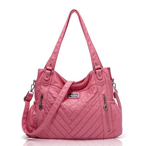 Angel Barcelo Womens Fashion Handbags Tote Bag Cross Body Shoulder Bag Top Handle Satchel Purse Pink