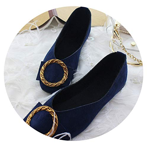 JIESENGTOO Women Flats Candy Color Loafers Summer Fashion Sweet Flat Casual Zapatos Plus Size 35-42,Black Blue,10