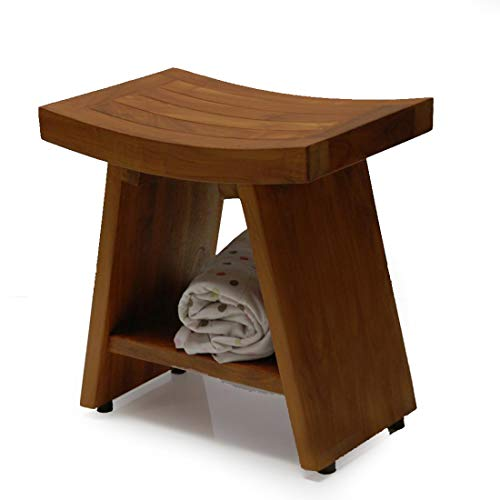 ((Arrive Fully Assembled)) Heavy Fuji II Teak Shower Bench or Pool Side Bench Chair Height Stool by BayviewPatio