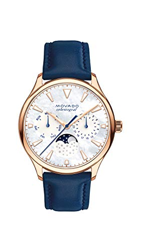 Movado Women s Heritage Rose Gold Watch with a Printed Index Dial, Blue, Gold White Model 3650011