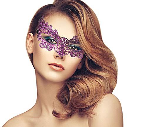 duoduodesign Exquisite Lace Masquerade Mask (Red Purple/Princess Dream) -