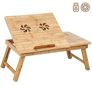 Miadomodo tavolino da letto portatile tavolino letto pc bamb regolabile in altezza con ventola - Tavolino per pc portatile da letto ...
