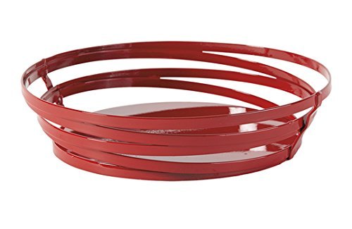 9'' x 7'' Oval Red Powder Coated Metal Wire Serving Basket, Cyclone Collection by GET WB-972-R