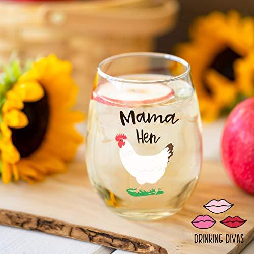 Funny Mama Hen wine glass