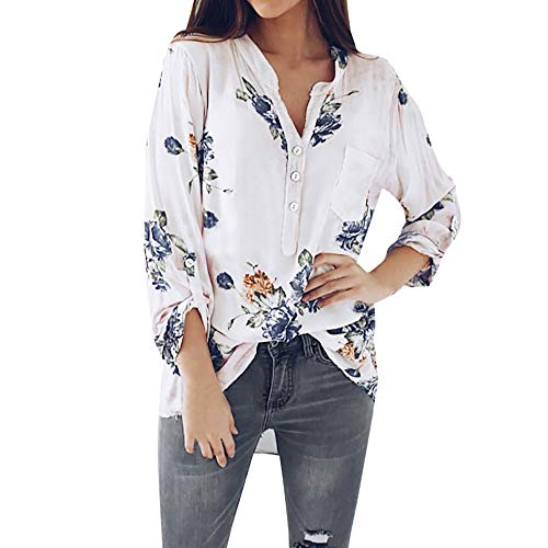 Womens Long Sleeve Henley Blouse V Neck Floral Print Button Tops Shirt from BODOAO