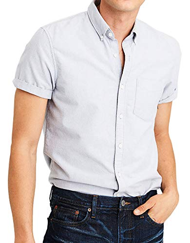 American Eagle Outfitters Mens Short Sleeve Oxford Button-Down Shirt Light Grey (Small) ()