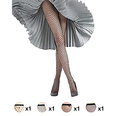Women's 4 Pairs Fishnet Stockings High Waist Tights Sexy Sheer Mesh Patterned Fishnet Leggings Net Pantyhose at Women's Clothing store