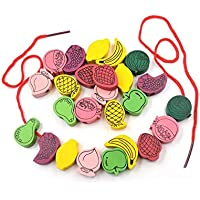 Grizzly 60/pcs Kids Fruit Beads Wooden Stringing Tpys Kit Children Threading Beads Game Craft Toys Learning Education Toys Eye Hand Coordination Imagination Ability Return Gifts