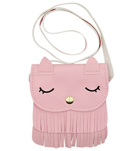 Kids Cute Cat Tassel Bag Girls Mini Satchel PU Leather Crossbody Bag Coin Pouse(Pink) -