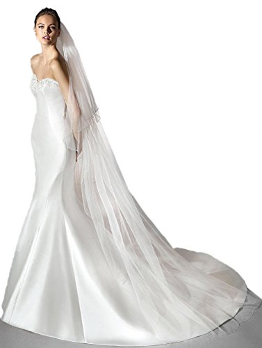 Passat White 2 Tiers 3M Scalloped Cathedral Wedding Veil with Beaded Scrollwork 248 Size 2T(1st tier 60CM/24