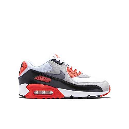 Nike Kid's AIR MAX 90 PREM MESH (GS), White/Cool Grey - Neutral Grey - Black, Youth Size 6.5