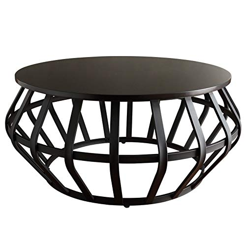 YIKE-Coffee Table Creative Black Wrought Iron Round Coffee Table, 3cm Thick Solid Wood Table Top, Industrial Style Small Apartment Sofa Side Living Room Small Round Table Furniture