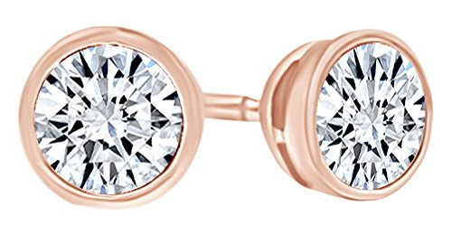 Round Shape White Natural Diamond Martini Style Solitaire Stud Earrings In 14K Solid Rose Gold (1.75 Ct)