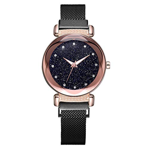 Saying Ladies Wristwatch Woman'S Bracelets Fashion Starry Sky Dial Diamond Quartz Bracelet Mesh Belt Magnetic Buckle Female Watch Ladies Timepiece Very Suitable As A Gift (Black)