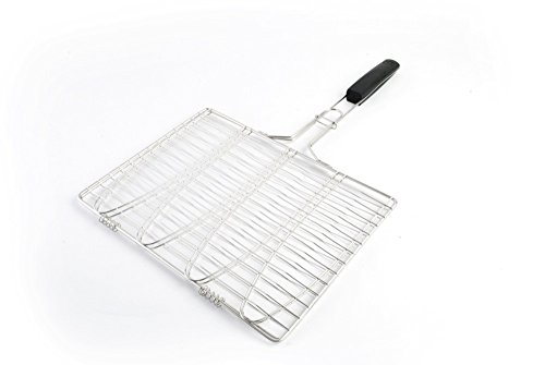 Fish Grilling Basket - Trout BBQ Grill Basket - Holds 4 Whole Fish - Stainless Steel With A Soft...