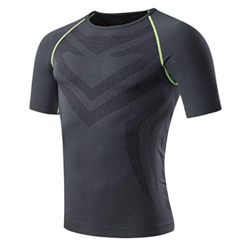 Kulywon Mens Shirts Men's Summer Casual O-Neck T-Shirt Fitness Sport Fast-Dry Breathable Top Blouse
