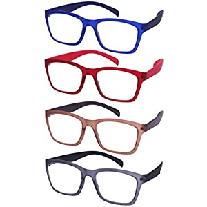 Edge I-Wear 4-Pack of High Quality Lightweight Square Frame Reading Glasses 540968SF-SET-2.75