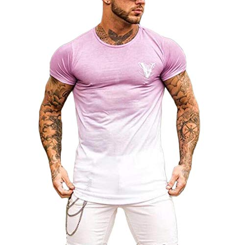 MILIMIEYIK Men's Workout Tee Short Sleeve Gym Training Bodybuilding Muscle Fitness T Shirt Pink -