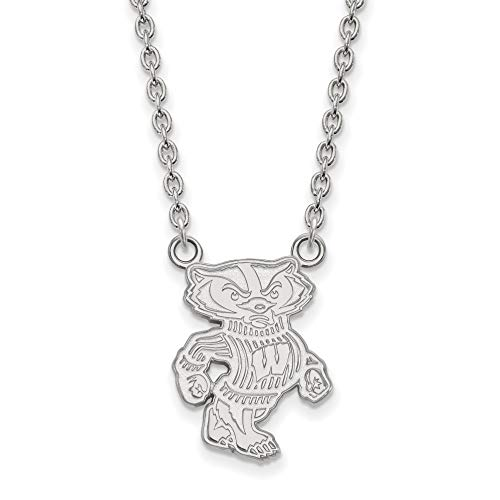 University of Wisconsin Badgers Bucky Mascot Pendant Necklace in Sterling Silver 20x16mm 18 Inches