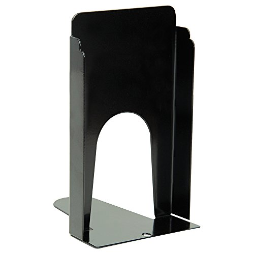 "Heavy-Duty Steel Bookends - Black-Cork Base-9"" - Pair by The Library Store"