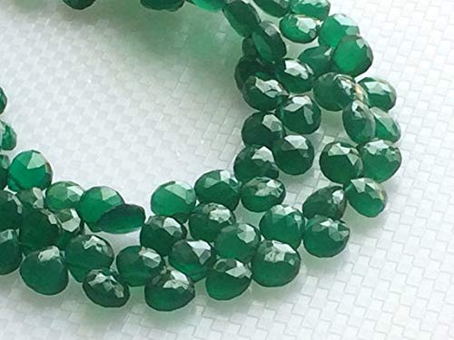 GemAbyss Beads Gemstone 1 Strand Natural Green Onyx Faceted Heart Beads, Green Onyx Heart Briolettes, Emerald Green Onyx, Green Onyx Necklace, 7mm, 3.5 Inch Code-MVG-19493