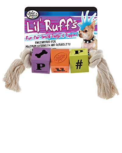 Four Paws Lil Ruffs 7 Inch Blocks and Rope Puppy Dog Toy