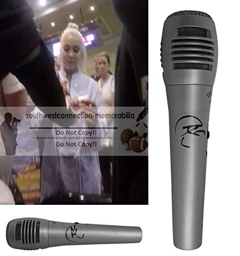 Raelynn Signed Hand Autographed Microphone with Exact Proof Photo of Raelynn Signing the Mic, God Made Girls, Boyfriend, The Voice Season 2, Wildhorse, For a Boy, Love Triangle, COA