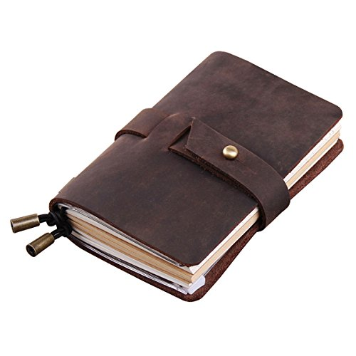 Robrasim Vintage Handmade Refillable Travelers Notebook – Journals Diary Geniune Leather Notebook – Pocket Size 13x10cm – Coffee