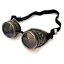 Steampunk Goggles Victorian Welding Cyber Punk Gothic Costume Cosplay Glasses Goggles (Brass Gold)
