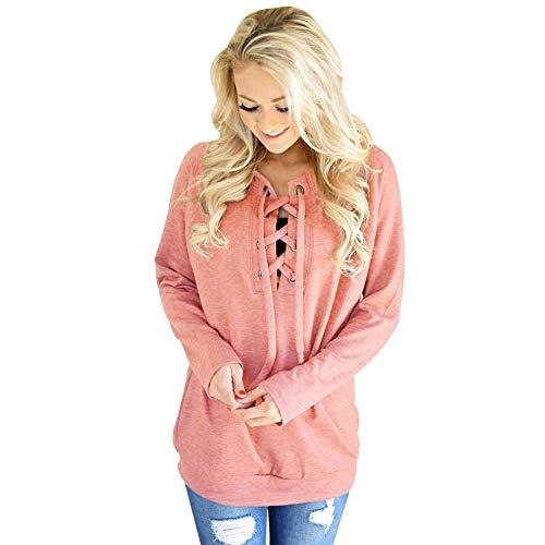 t Manica Lunga Da shirt Cxq T Casual Shirt A Donna Pink 4wHc67d