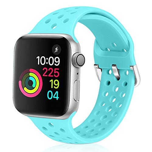 (Relting Compatible with Apple Watch Band 42mm 44mm, Soft Silicone Sport Breathable Replacement Strap Compatible for iWatch Series 4, 3, 2, 1 for Women and Men (Sapphire Blue, 42mm/44mm))