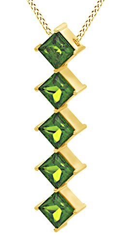 AFFY Princess Cut Simulated Green Peridot Journey Pendant Necklace in 14K Solid Yellow Gold (0.5 Ct)
