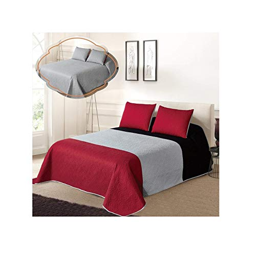 All American Collection New 3pc Solid Three Color Combination Reversible Bedspread Set (FULL/ QUEEN, Black/Grey/Red) (Queen Red Bedspread)