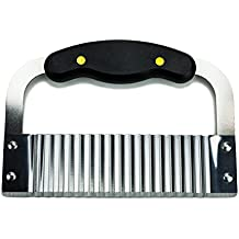 Huji Black Handled Crinkle Cut Knife Serrator Salad Chopping Knife and Vegetable French Fry Slicer Steel Blade Cutting Tool, Silver
