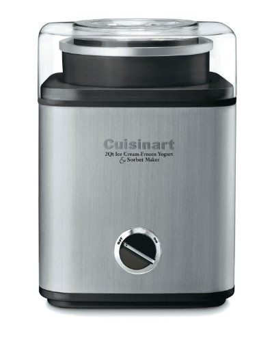 Cuisinart CIM-60PC Pure Indulgence Automatic Frozen Yogurt, Sorbet and Ice Cream Maker, 2 quart, Grey and Black