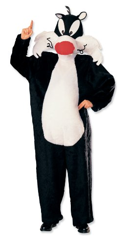 Black Movie Star White Costume (Looney Tunes Deluxe Sylvester The Cat Costume, Black/White, One)